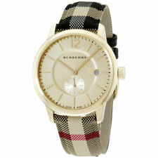 100% New Burberry BU10001 Honey Dial Check Fabric-Coated Leather Unisex's Watch