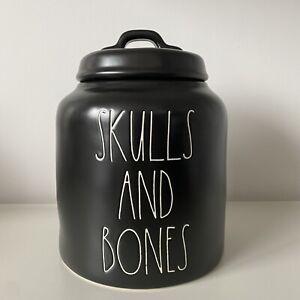 New Rae Dunn Skulls & Bones Black Halloween 2020 Canister - Online Release