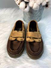 Little Boys Sperry Top Siders 2 Toned Brown/Tan Size 8.5 M Hook & Loop Fasteners