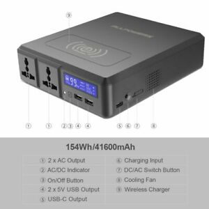 154Wh Portable Charger Wireless Solar Power Station for Laptop Camera Projector