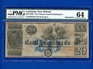 1840's $20 New Orleans Canal & Banking Co. RARE BLUE OVERPRINT PMG 64 Choice Unc