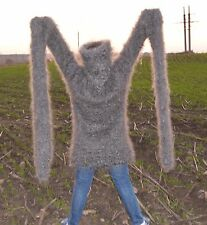 Sweater Gray SUPER LONG SLEEVE Longhair 100% Goat Down Mohair UNISEX FETISH