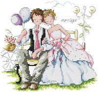 14 count aida needlepoint cross stitch wedding kit with colorful chart KX017