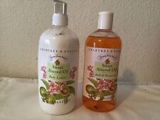 Crabtree & Evelyn Sweet Almond Oil Body Lotion&Shower Gel Set , New16.9 oz each