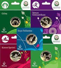Azerbaijan set coins 1 manat Baku First 1st 2015 European Games Sports bUNC