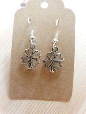 Shamrock Clover Lucky Irish Love Gift Silver Plated Dangle Earrings
