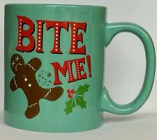 Christmas Coffee Mug Bite Me Gingerbread Man Cup Funny Office Gag Gift Rude Mug