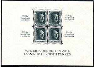 Germany B106 MNH 1937 Adolf Hitler Nazi Congress Perf 14 Souvenir Sheet Cv $240.