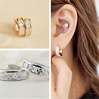 1Pair Rose Gold Silver Filled Hoop earrings crystal Rhinestone