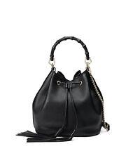 Gucci Women's Miss Bamboo Medium Leather Bucket Bag Black MSRP $2,500