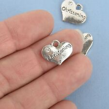 10 Silver CHRISTENING Heart Charms Baptism Charms chs4830