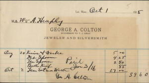 1915 Receipt George A. Colton Jeweler and Silversmith