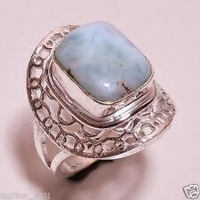 Natural larimar stone designer ring .925 silver size 9.5 free shipping R-43