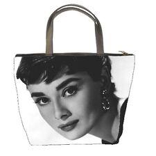 AUDREY HEPBURN LEATHER Bucket ALL PURPOSE bag zippered IMAGE 2 SIDES 95789345