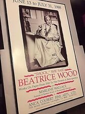 """BEATRICE WOOD Signed Poster """"Shock, She Said"""" 1988 24""""x14"""" Signed  BEATRICE WOOD"""