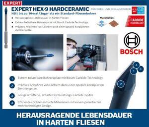 BOSCH EXPERT Fliesenbohrer Carbide HEX-9 HARDCERAMIC für HARTE FLIESEN / ZIEGEL
