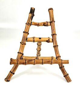 Vintage Chinoiserie Burnt Bamboo Easel Photo Plate Art Picture Stand 7Hx7Wx6D