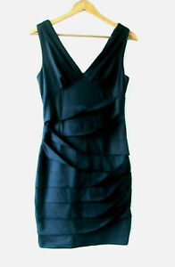 Dress Black Switch sz S 8 Bandage Drape Bodycon