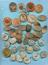 40 PC. ELONGATED COINS, WOODEN NICKELS, ENCASED PENNIES, ECT!!..STARTS@ 2.99