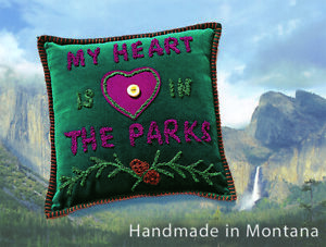 Embroidered Parks Pillow - 'My Heart is in the Parks'