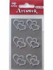 Artoz cristal transparent double coeurs craft embellissement stickers fabrication carte