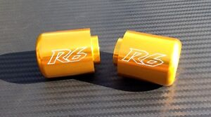 Yamaha R6 Engraved GOLD Anodized Bar Ends Sliders 2006 - 2018
