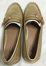 Nwb Bass Ladies Wayfarer Color Gold Snakeskin Loafer Shoes Size 8