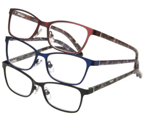 3 PACK Foster Grant Reading Glasses Cheaters +3.00 Ladies Metal Full Frame 7528