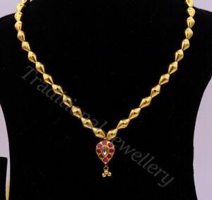 22K YELLOW GOLD VINTAGE ANTIQUE DESIGN HANDMADE BEADS NECKLACE WOMEN'S PENDANT