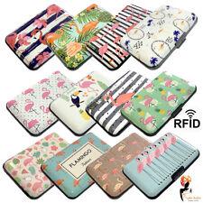 RFID Block Security Wallet Aluminium Credit Card Holder Case Flamingo Designs