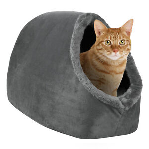 Cat Cave Hideout Bed Grey Pet Kitten Puppy Soft Tent House Shelter Small Dog