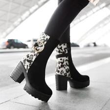 Pump Women Fashion Ankle Boot Platform Block High Heel Round Toe Leopard Shoes