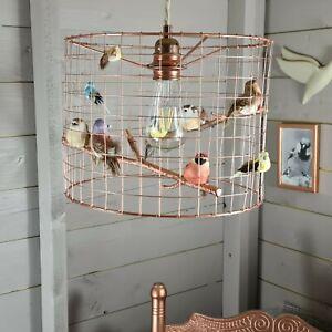 Natural Garden Birds Copper Birdcage Cage Shade Chandelier Light Lightshade Lamp
