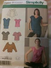 Simplicity pattern 2554 cute tops sizes 6, 8, 10, 12, 14.