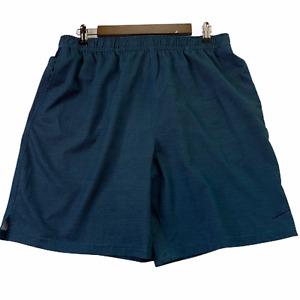Speedo Men Swim Trunks Rear Zipper Pocket Green Navy Elastic Tie Waist Large