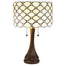 21'' Unique Tiffany Style Jeweled Bronze Modern Table Lamp w/ Cream Glass Shade