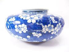 Large Antique Chinese Export Porcelain Blue & White Prunus Tree Vase