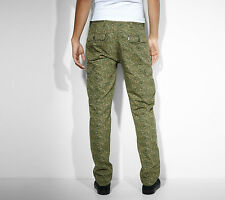 LEVI'S JEANS SLIM STRAIGHT CARGO II CAMOUFLAGE TROUSERS MILITARY GREEN W33 L32