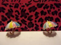 NWT BETSEY JOHNSON MULTI-COLOR ENAMEL UMBRELLA  EARRINGS