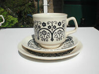 TAMS TRIO. Cup, saucer and plate. Circa 1970's. Retro. In very good condition.