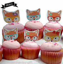 8 Fox Dama Comestibles Pop Top Cupcake Toppers | Cake Toppers | Decoración De Cumpleaños