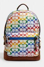 Coach Signature Rainbow Large West Backpack 2471 Chalk Multi