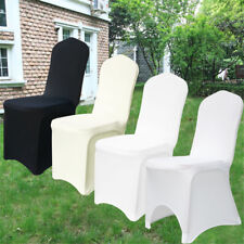 50-100PCS White /Black Spandex Fitted Folding Chair Covers Wedding Party Banquet