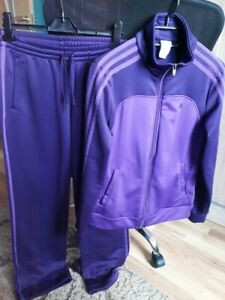 Adidas Originals Womens Tracksuit Purple 3 Stripes Jacket Pants Set Size S 8-10