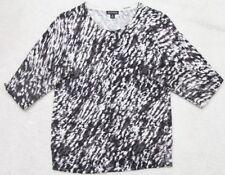 George Women's Crewneck Shirt Medium 8-10 White Black Gray Long Sleeve Cardigan