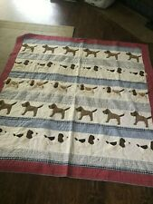 Pottery Barn Kids Puppy Dog Corduroy Queen Size Quilt Blanket Bedspread Boys GUC