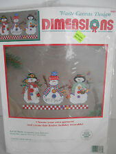 "Dimensions Waste Canvas Cross Stitch Kit ""Let It Snow"" Snowmen #8484 ~ NEW!"