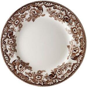 """Spode Delamere DINNER Plates 27cm 10 3/4"""" Brown/White Scroll's Flowers Set 4 NEW"""