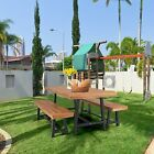 3 Piece Outdoor Park Table Bench Wood Patio Dining Tables Garden Furniture Teak