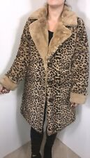 Leopard Print Coat Faux Fur Shawl Collar Lined Soft Warm Long Plus 16 18 20 NEW
